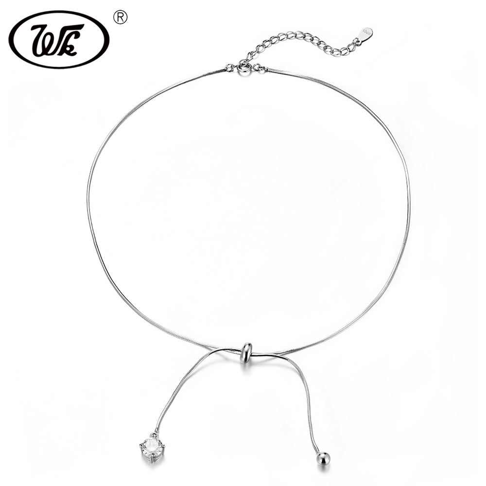 WK Trending Chocker 925 Sterling Silver Choker Necklace Short Chain With Drop Ball Crystal Chokers Necklaces For Women W4 NB092 925 sterling silver music chain violin pendant choker necklace fashion jewelry cello chokers necklaces