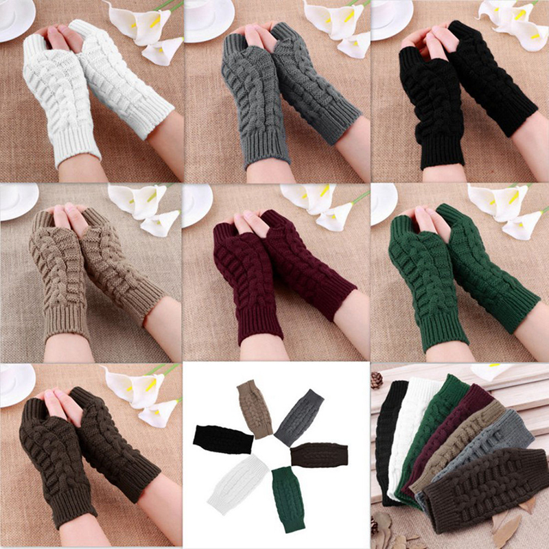 Knitted Long Hand Gloves Women s Warm Embroidered Winter Gloves Fingerless Gloves For Women Girl Guantes