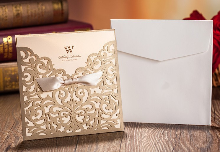 High Class Wedding Invitations 2015 Brown Personalized Laser Cut