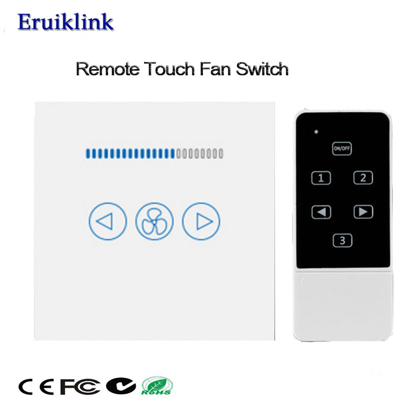UK Standard 500W LED Fan Switch,Crystal Glass Panel Touch Wall Switch,Smart Home 433mhz RF Switch Works With Broadlink Rm Pro uk 1gang dimmer led touch switches black crystal glass panel light wall switch remote smart home 220v 110v free shipping