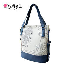 Flower Princess Canvas Large Tote