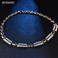 BUDONG Luxury Pendant&Necklace for Women Silver/Gold Color AAA+ Chain Cubic Zirconia Engagement Jewelry Gift for Wife XUP803