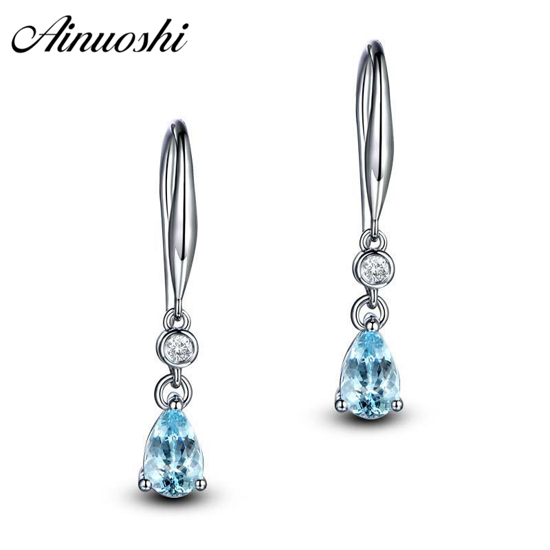 Ainuoshi 1 Carat Round Stud Earring Pure 925 Silver Natural Sky Blue Topaz Earrings Bezel Setting Round Cut Gemstone Accessory Jewelry & Accessories Earrings