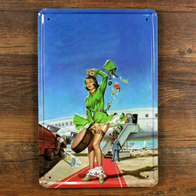 Free shipping Vintage Sexy Lady Plaque Retro Metal Poster Tin Sign Home Decor Sex Girl for Bar Pub Cafe Wall Sticker 20×30 CM