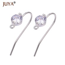 Diy earring making accessories earring hooks high quality copper metal plated 14 K gold micro-inlaid zircon earring findings(China)