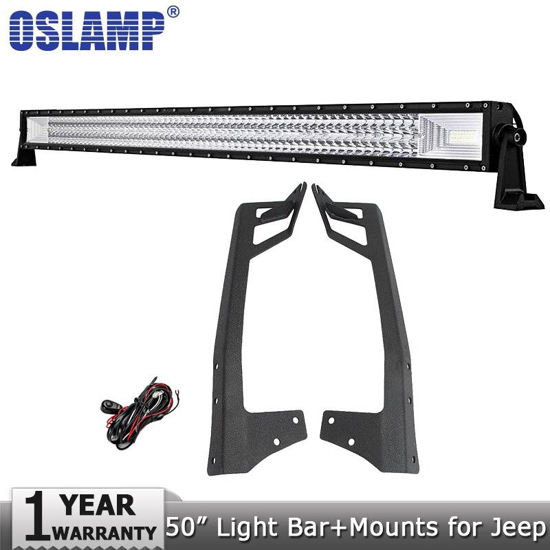 Oslamp 50 702W 3-Row LED Light Bar Offroad Led Bar Lights Combo Beam 12v 24v Led Work Light Bar for Jeep Wrangler JK 2007-2015