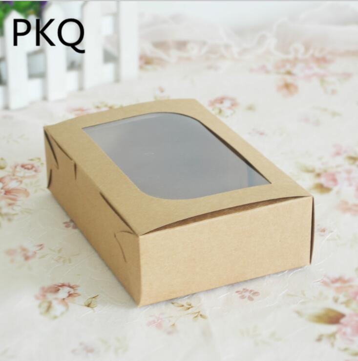 50pcs Wholesale Kraft Paper Box Brown Egg Tart Packaging Box with window Macarons Chocolate Packing Box