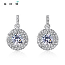 LUOTEEMI New Simple Elegant Stud Earrings for Women White Gold-Color Clear Cubic Zircon Crystal Ear Jewelry for Girl Brincos