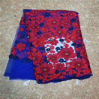 New African Lace Fabric,High Quality big floral solid french lace Guipure embroidered African tulle fabric Soft 5yards per piece