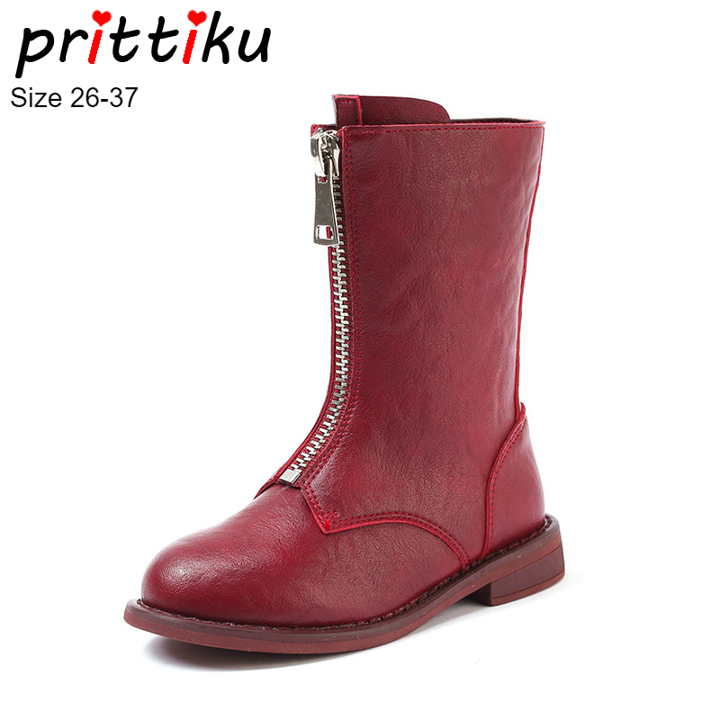 Fall Winter 2018 Girls Genuine Leather Fashion Mid Calf Martin Boots Toddler Little Big  Kid Front Zip Children Warm Brand Shoes 2b44c181549f