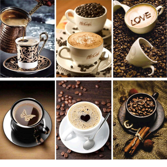 Full Drill Diamond Painting Coffee Cup Picture For Kitchen Dinning Room Rhinestones Embroidery Diamonds Mosaic Artwork As194