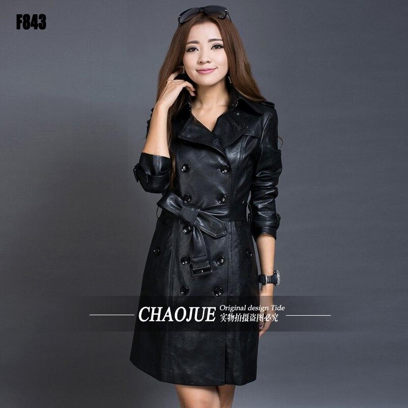 Veste Femmes 5xl Cuir Manteau Robe 2016 Outwear Noir Mode 4xl Tranchée Mince De En Y7gy6bf