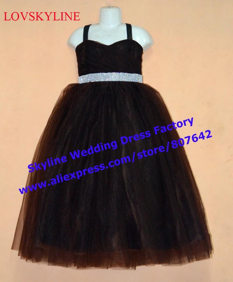 Spaghetti straps Black Rhinestone Sashes Chiffon   Flower     Girl     Dresses   2018 Plus Size Sleeveless Child First Communion   Dresses