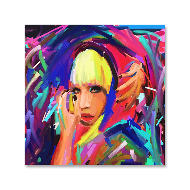 DIY digital oil painting its own acrylic coloring entertainment decoration Lady Gaga Abstract