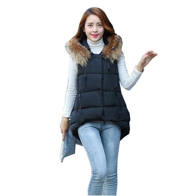 2017 chaleco con a capucha kaross medio-largo de algodón acolchado chaqueta de cuello de piel prendas de vestir exteriores abajo chaleco de algodón femenino barato al por mayor