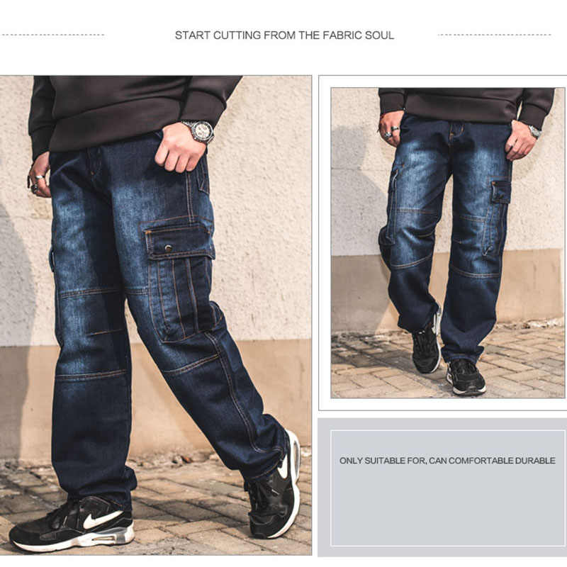 Idopy Mode Mannen Biker Jeans Heavy Duty Multi Zakken Japanse Stijl Loose Fit Plus Size Cargo Denim Broek Voor hipster
