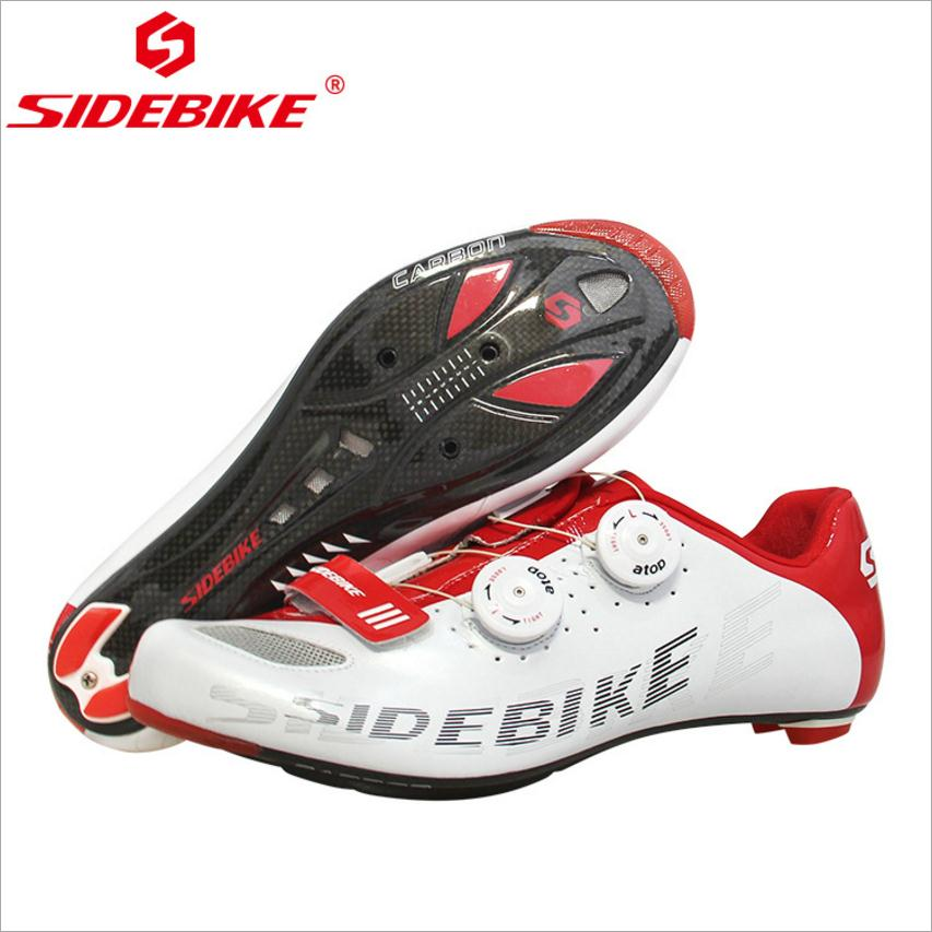 SIDEBIKE Carbon Fiber Black White Road Cycling Shoes Light Ultralight Bicycle Shoes Self-Locking Bike Sneaker Sapatilha Ciclismo original ijoy saber 100 20700 vw kit max 100w saber 100 kit with diamond subohm tank 5 5ml