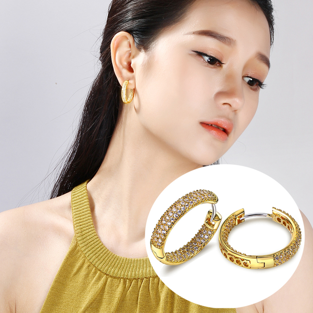 Hot hoop earring for Women Gold and White Micro pave tiny Cubic Zirconia crystal Circle female Jewelry accessories