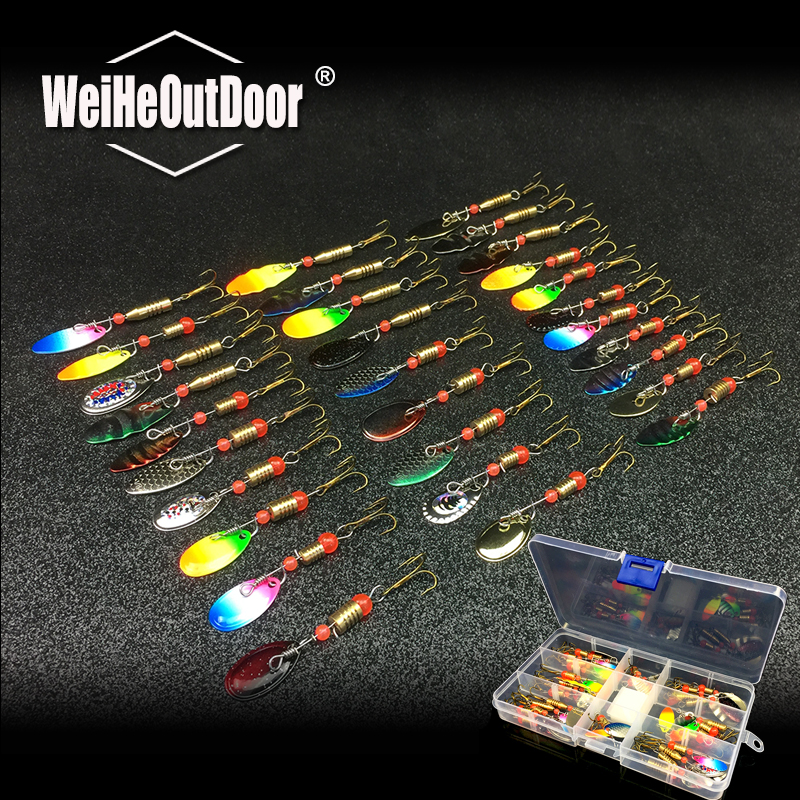 30pcs/lot Fishing Lure Spinner Bait Spoon Lure Metal Baits Treble Hook Isca Artificial Fish Wobble Carp Spinnerbait 30pcs lot carp fishing hook sleeve hair