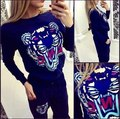 2015 autumn tiger printing hedging sweater sportswear leisure suit Spot,tracksuit for 2piece set women,alien