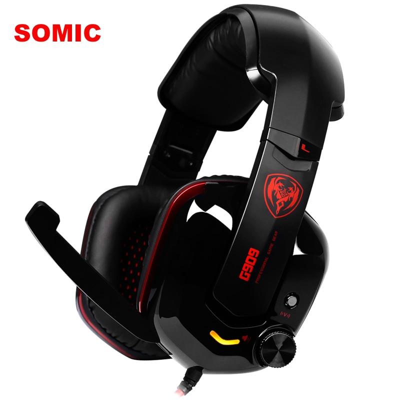 Original SOMiC G909 Headphone 7.1 Virtual Surround Sound Headband USB Gaming Headset With Vibration Mic LED for PC Computer