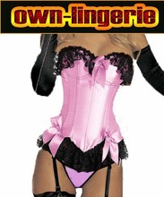 Hot Sales stain pink corset with bra padds wholesale corset ,women's clothing intimates shaper lace sides,bowknot front