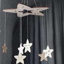 Baby Crib Rattles Baby Hanging Mobile Wooden Rattle DIY Wind Chimes Stars Bell Toys For Kids Bedroom Decoration 60*23cm(China)