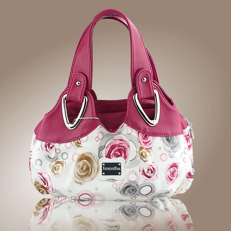 Hot 2017 Top-Handle Bags Flowers fashion foldable tote bags retro vintage women leather handbags tote trendy purses and handbags 2