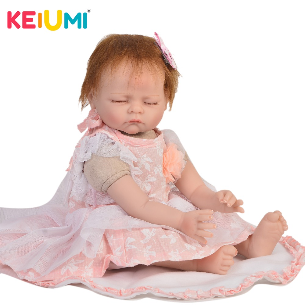 KEIUMI Real Look 22 Inch Reborn Baby Doll Cloth Body Realistic Fashion Sleepy Baby Doll Toy For Children's Day Kids Xmas Gifts keiumi cute 22 inch reborn baby doll cloth body realistic fashion princess baby doll toy for children s day kid xmas gifts