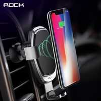 ROCK Metal Qi Car Wireless Charger for iPhone X XS XR 9 8 Samsung Galaxy S9 S8 Note 9 8 Quick Charge 10W 7.5W Car Gravity Holder