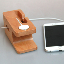2 in 1 premium 100% Bamboo Wooden Charging Dock Stand Phone Holder For All mobilephones APPLE iPhone 6S PLUS 6 5s i Watches