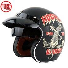 TORC casco casco capacete vintage moto cross caschi T57 moto cafe racer moto rcycle scooter 3/4 retro aperto del fronte del casco con ECE
