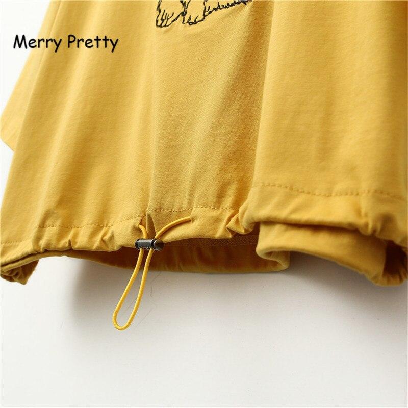 Frohe Ziemlich Harajuku Frauen Ernte T-shirt Hund Stickerei Kurze T-shirts Weibliche Elastische Taille T Shirts Mädchen Orange Casual T-shirt