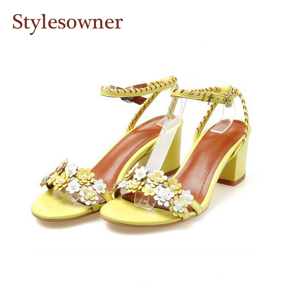 Stylesowner 2018 Sweet Style Summer Sandal Shoes Pink Lemon Yellow Ankle Strap 5CM Heel Beach Sandal Shoe Lovely Shoes Lady new arrivals pale pink shiny leather kawaii rabbit ankle strap sweet lolita shoes 5 5cm heel pumps