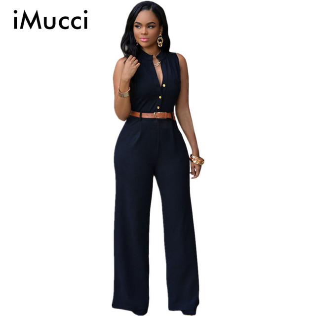 Black Summer Jumpsuit Monos Mujer Largos 2016 New Fashion Plus Size Romper Casual Belted Wide Leg Jumpsuit Macacao Feminino