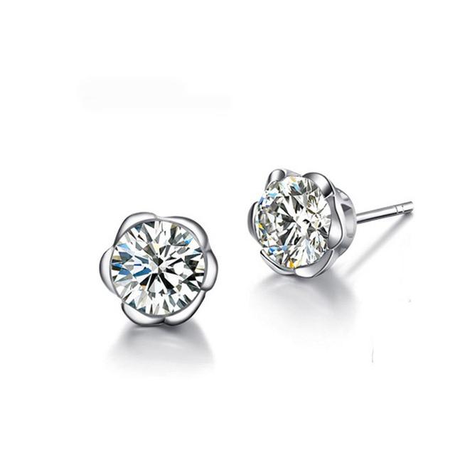 50d6181b277fb 2018 NEW Fashion Simple Silver Plated Women Stud Earrings Flower Design  Earring For Women Hypoallergenicar Girl