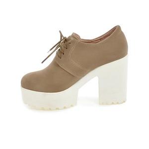 Image 2 - BONJOMARISA Womens Keroan Style Square High Heel Shoes Woman Lace Up Round Toe Platform Pumps Big Size 34 43