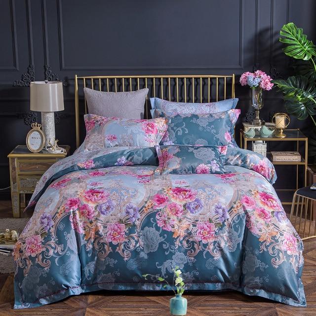 100% cotton bule jacquard floral luxury bedding sets queen king size duvet cover bed sheet set,bed set bed linen pillowcase
