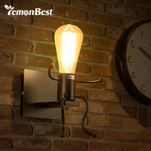 Creative Man Shape Wall Lamp Cute Light Sconce E27 Socket Bathroom ...