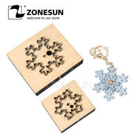 ZONESUN Snow Leather Cutting Die DIY Key Ring Cut Out Wooden Template Knife Punching Key Chain Die Cut Cutting Mould Decoration