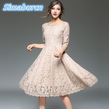 2018 Spring Hollow Out Lace Women Dress Sexy O-Neck Half-Sleeve Long Evening Party Dresses Loose Vestidos Elegant Femme цена и фото