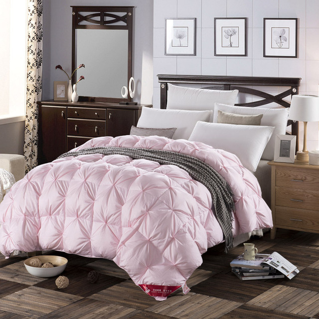 Design White Pink Color Natural 90 Duck Down Comforter 500fp Light Warm Queen King