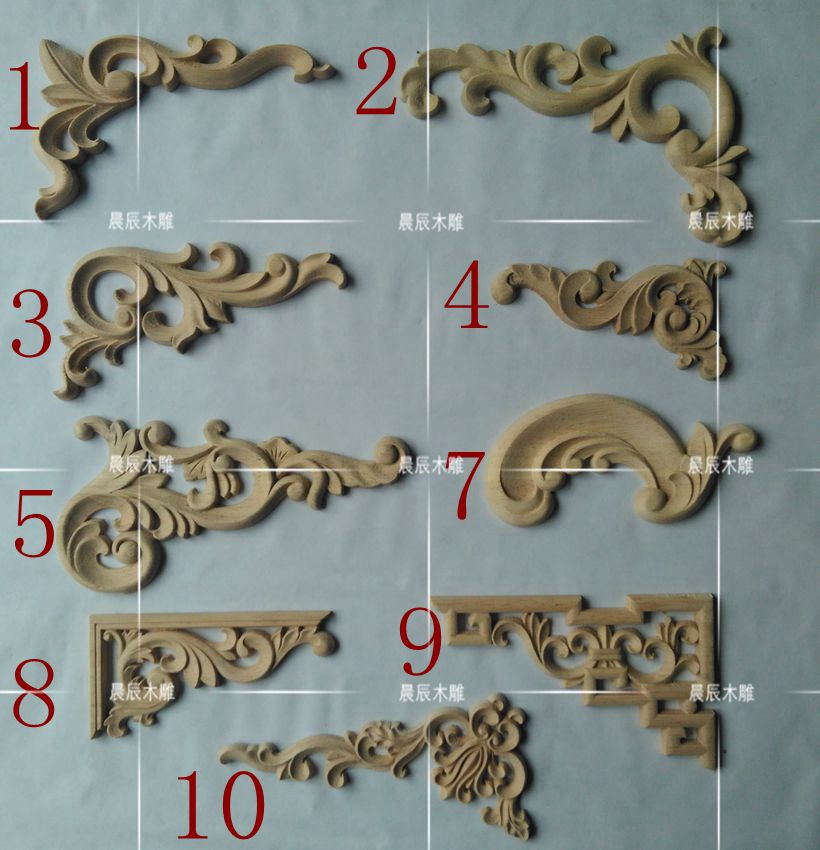 4pcs/lot, Wood Applique, European Wood Trim, Decorative Decals, Door And Table Decorated With Carved(A747)