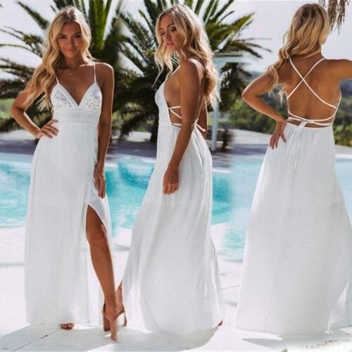 Summer White Women Long Dress Backless Halter V Neck Beach Bohemia Dresses Sundress