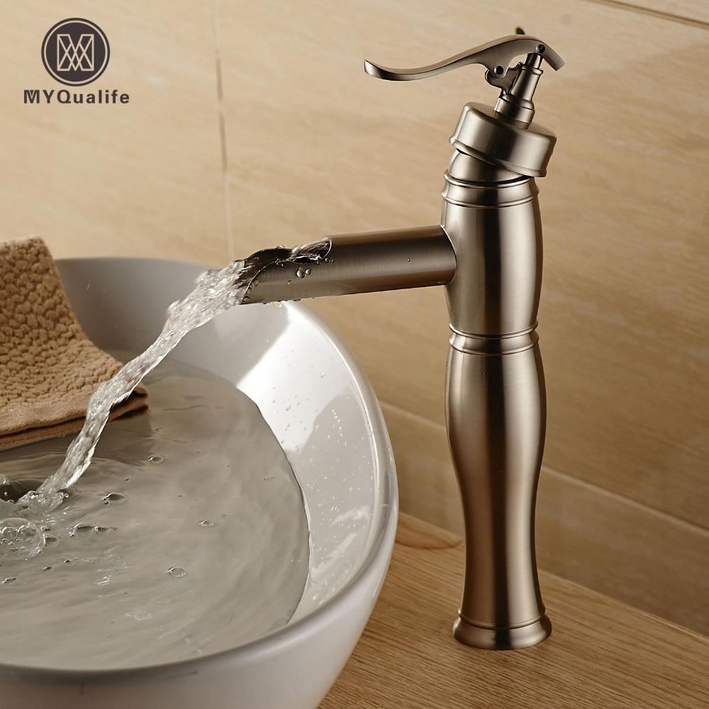 цена на Water Pump Shape Bathroom Basin Mixer Faucet Deck Mount Brushed Nickel Lavatory Sink Mixer Taps