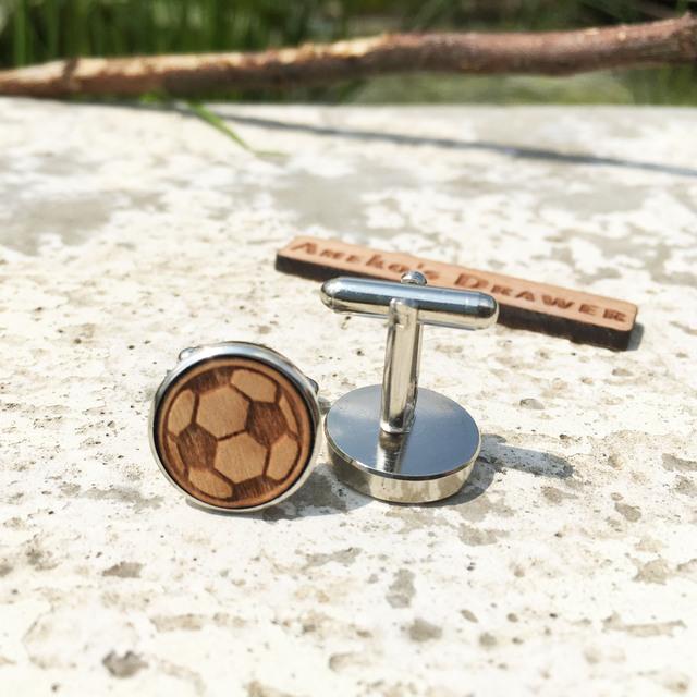 Football Wooden Cuff Links Wedding Groomsmen Soccer Wood Sport Jewelry X 1 Pair