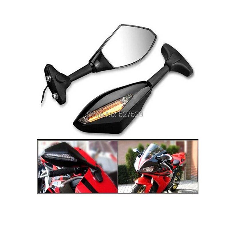 Prix pour 2 pcs Voir Rétroviseur LED Clignotants Miroirs pour Kawasaki Ninja ZX6R ER6F 636 Z750S Z750 ZX9R