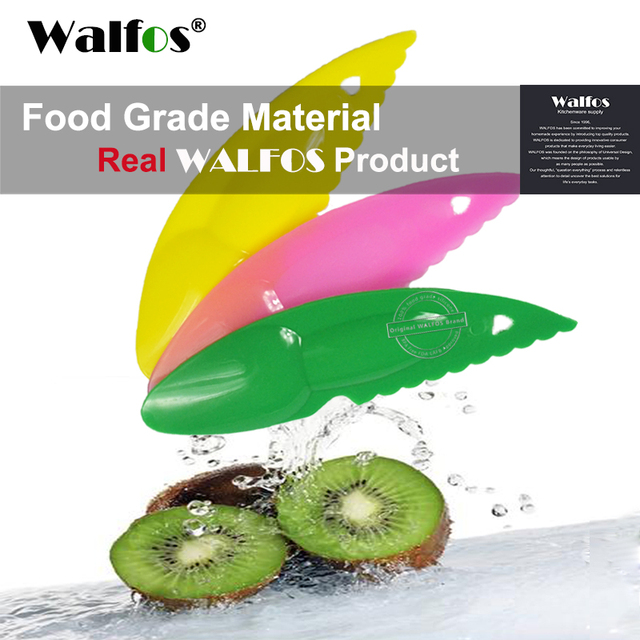WALFOS 3 piece 2 in 1 Kiwi Spoon Plastic Candy Color Kiwi Dig Spoon Scoop  Fruit