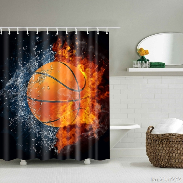 Fabric Bath Shower Curtain Cool Basketball Football Style Waterproof With  12 Hooks Bathroom Decor #K918C