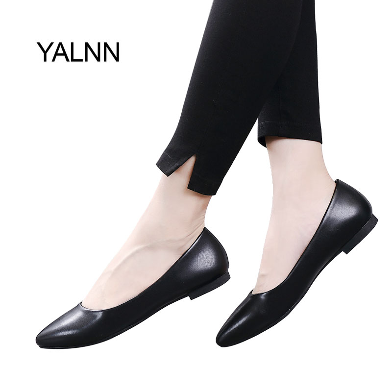 YALNN New Women Flats Shoes Leather Platform Heels Shoes White Black Women Pointed/Square Toe Leather Big Size Shoes Women